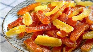 Cascaritas de naranja confitadas vs fruta abrillantada 1