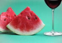 sandía con vino